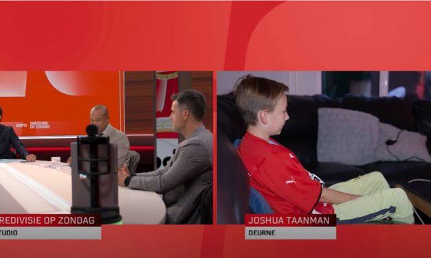 KlasseContact-leerling Joshua was via KlasGenoot aanwezig bij 'Eredivisie op zondag'